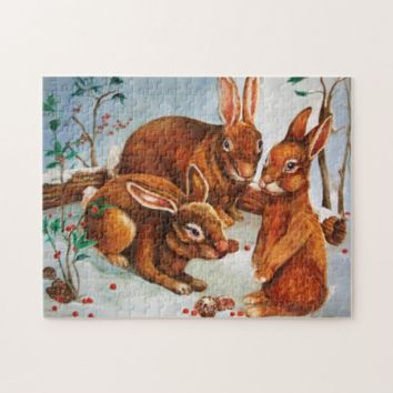 Christmas Jigsaw Puzzle - Rabbits Sitting in Snow