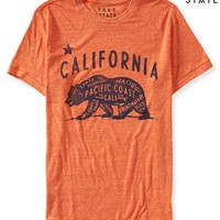 Aeropostale Mens Free State California Graphic T-Shirt - Orange, X-Small