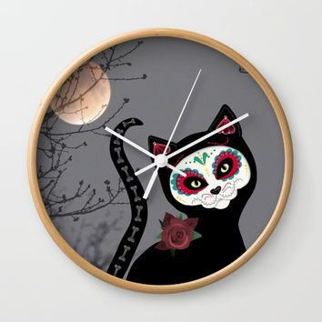 Day of the Dead Cat Wall Clock by UMe Images