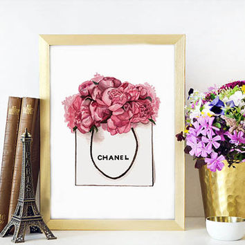 CHANEL LIPSTICK,Makeup Print Chanel Print Peonies Bag Fashion Watercolor artwork Chanel Perfume Bottle No5 Gift For Wife,Fashion Print