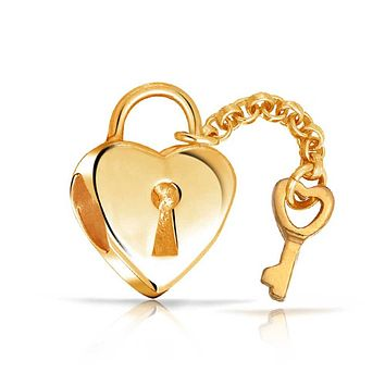 Heart Lock Key Love Charm Bead 14K Gold Plate Sterling Silver Bracelet