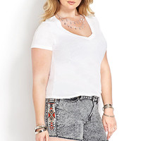 FOREVER 21 PLUS Southwestern Style Denim Shorts Denim/White
