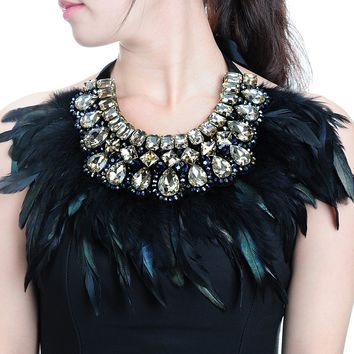 Vintage Glass Crystal Black Feather Pendant Chunky Statement Bib Necklace Ladies (Color: Black)