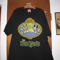 The Haunted Mansion T Shirt XL Goofy Mickey Disney Glow in the Dark Watch for Hitchhiking Ghosts