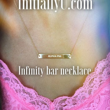 Gold Alpha Phi Sorority Infinity Bar Necklace - Available in all Sororities!