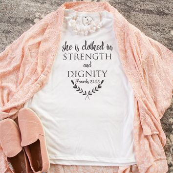 She is Clothed in Strength and Dignity Short Sleeve Christian Shirt