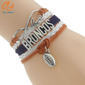 Infinity Love Broncos football Team Bracelet white orange navy blue Customize sports Wristband friendship Bracelets