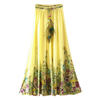 UWBACK 2017 New Summer Chiffon Long Skirt Women Print Pleated Bohemian Maxi Skirts Femme Floral Boho Beach SKirt Women TB981