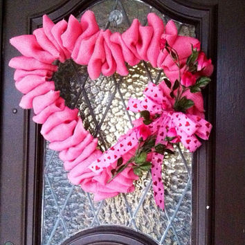 Valentines Day Wreath, Large Heart Wreath, Burlap Heart Wreath, Pink Burlap Heart Wreath, Valentines Decoration, Spring Wreath, Pink Heart