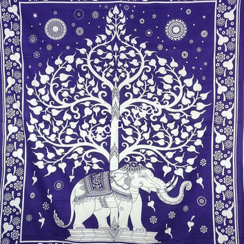 Hippie Elephant Queen Tapestry, Elephant Tree Of Life Wall Decore Tapestry, Indian Mandala Tapestries, Tree of life Elephant Wall hanging
