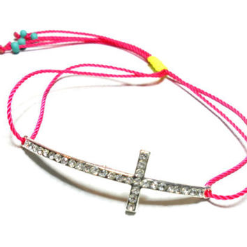Neon Sideways cross Friendship Bracelets - pink yellow neon colored cord silver plated rhinestones cross turquoise beads valentine's day