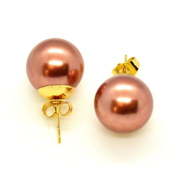 (1-1051-h10-2) Gold Overlay Bronze Pearl Knob Earrings, 16mm.