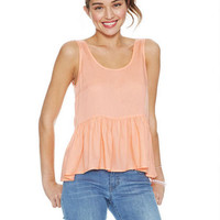 Solid Thick Strap Babydoll Top - Peach