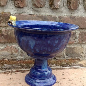 Cobalt Blue Pedestal Bowl with Yellow Rose, Tabletop Bird Bath, Fruit Bowl - Hand thrown, stoneware pottery
