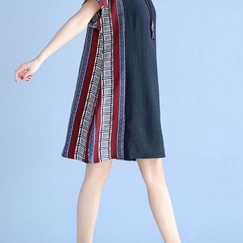 Casual Printed Vertical Striped Round Neck Shift Dress