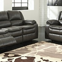 2 pc Long Knight collection gray colored faux leather upholstered sofa and love seat set with power motion recliners on the ends