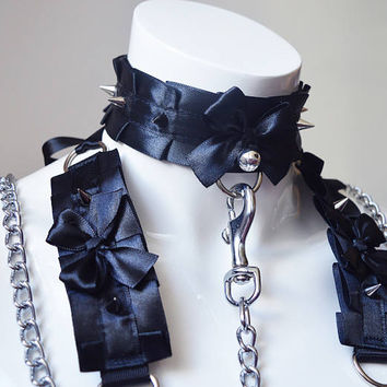 Kitten play collar leash and cuffs set - Dangerous pet - bdsm proof kittenplay gear ddlg kink petplay slave girl boy adult sexy black