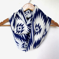 Navy Blue Off White Navajo Ethnic Infinity Scarf // Tribal Scarf // Southwestern // Tribal Print Scarf // Navajo Fabric // Navy Scarf