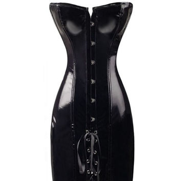 2016 Steampunk Long Wetlook Vinyl Pvc Corset Dress Sexy Corsets And Bustiers Chest Binder Black Faux Leather Plus Size Corselet