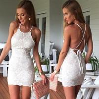 2015 Summer Beach Dress Woman White Sleeveless Fashion Mini Dress Embroidered