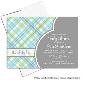 Baby boy shower invitations printable | plaid baby shower invites for boys | green gray blue | digital or printed - WLP00713