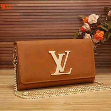 LV Women Simple Bag Shopping Buckle Leather Metal Chain Satchel Shoulder Bag B-LLBPFSH Brown
