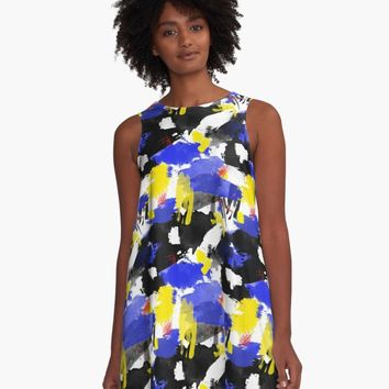 'Watercolor Mess - Blue & Yellow' A-Line Dress by ketrena