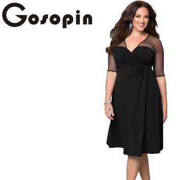 Gosopin Brand New Autumn Dress Plus Size XXL Women Clothing Short Sleeve Large Size Sexy Dress Black Party Nightclub LC60671