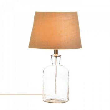 Clear Ripple Glass Bottle Table Lamp