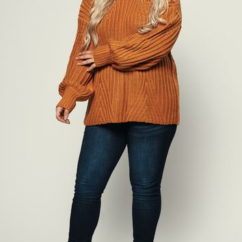 Curvy Spacious Bubble Sleeve Sweater (Mustard)