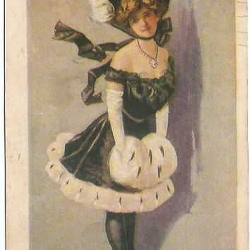 Antique Postcard Beautiful Woman in Fancy Show Girl Like Dress and Muff with Ostrich Plume Hat Pin Up Pinup