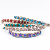 Hemp Bracelet With Glass Beads & Flat Weave - Pick Your Color - Buy 2 Get 1 Free - Stacking Bracelets