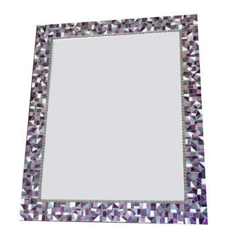 Mosaic Wall Mirror // Purple, Silver, Gray // Decorative Mirror