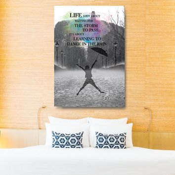 Learning To Dance In The Rain Framed Canvas Wall Art Home Office Dorm Motivational Inspiration