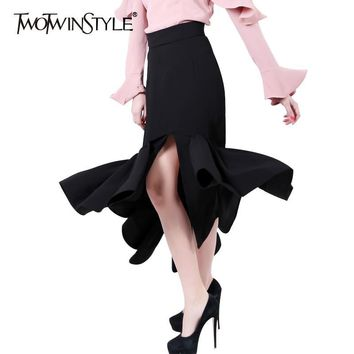 TWOTWINSTYLE 2017 Women Front Split Mermaid Pencil Skirt Bodycon Midi Long Asymmetrical Ruffle Hem Sexy High Waist Party Clothes