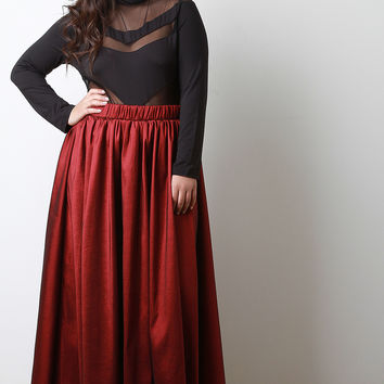 Taffeta Flared Maxi Skirt