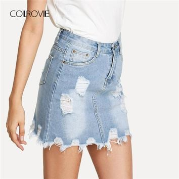 Bleach Wash Ripped Mini Denim Skirt Summer New Sheath Women Skirt Basic Pocket Jeans Skirt High Waist Casual Skirt