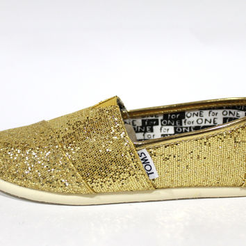 Toms Youth's Classic Gold Glitters Kid's Shoes