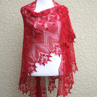 Knit shawl in red color with nupps, lace shawl, gift for her (22 colors available)