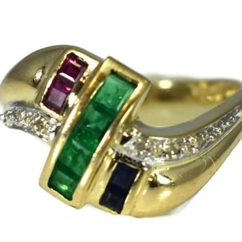 14k Emerald Sapphire Ruby and Diamond Ring Yellow Gold Setting Vintage
