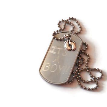 Engraved Baby Silver Necklace Custom Its A Boy Baby Charm Christening Deployment Gift Baptism Pregnancy Announcement Parents Godparents Day