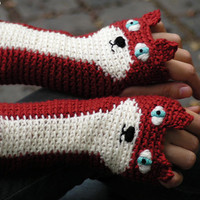 FOX FINGERLESS GLOVES (Dark Red) - Free Shipping Worldwide