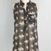 ModCloth Long Sleeveless Supersonic Steed Top