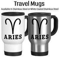 Aries, Astrology Mug, Horoscope Cup, Travel Mug, Coffee Cup, Stainless, White, 14oz, Typography, Tea Cup, Tea Mug, Cocoa Cup,