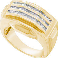 Bagguette Mens Diamond Ring in 14k Gold 0.54 ctw