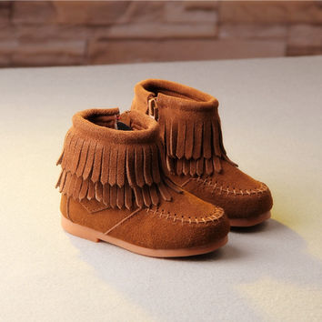 Colorful  Kids Girl Winter Boots New Brand Flat Heel Girls Boots Leather Macrame Ankle Fashion Princess Shoes Kids Winter Shoes