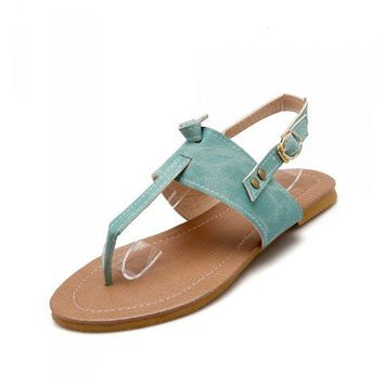 Large Size Buckle Pure Color Flip Flops Slip On Slingback Flat Sandals