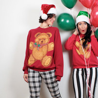 Vintage 80s Ugly Christmas Sweater Cute Teddy Bear Kawaii Tacky Christmas Sweater Bow Red Ugly Xmas Jumper Pullover Tshirt Party M Medium L