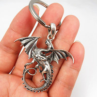 Pterosaur keychain. Punk keychain,Handmade alloy key chain. Retro keychain. Silvery dragon keychain. graduation gifts, personalized jewelry