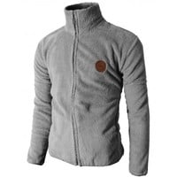 Mens Casual Soft Thermal Lining High Neck Zip Up Jacket (KMOJA037)